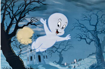 casper the friendly ghost flying through woods with castle background