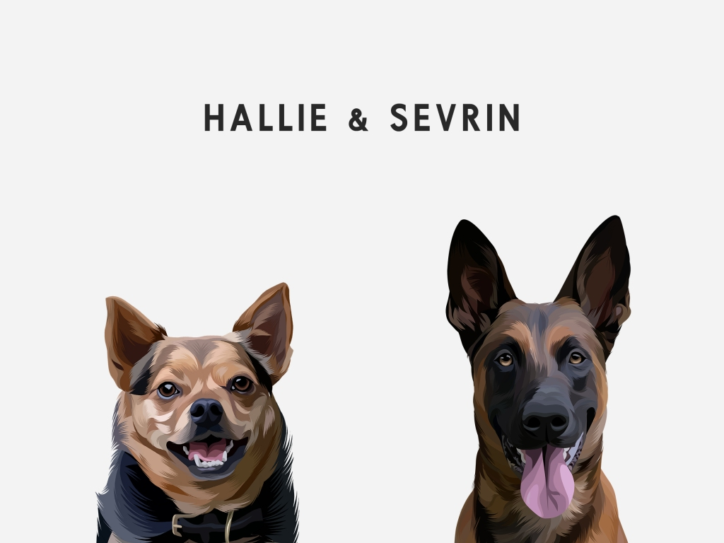 digital art of two dogs with white background